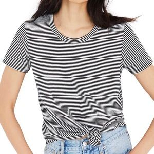 Madewell Striped Knot Front Tee Size M